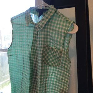Mint gingham blouse